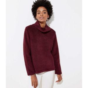 LOFT Fleece Faux Sherpa Cowl Neck Sweater Top
